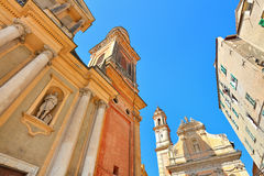 Fragment of basilica in Menton, France. Royalty Free Stock Images