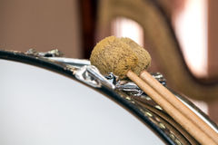 Fragment of a bass drum. Closeup Royalty Free Stock Photo