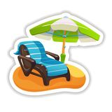 Fragment of beach with lounger under an umbrella. Summer tropical sticker, label, logotype, badge on the topic travel, vacation. Tropical beach with lounger vector illustration