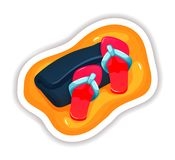 Fragment of beach with summer slippers and rolled towel. Summer tropical sticker, label, logotype, badge on the topic travel, vacation. Beach with summer stock illustration