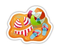 Fragment of beach with swimsuit, bouncy ball and slippers. Summer tropical sticker, label, logotype, badge on the topic travel, vacation. Tropical beach with vector illustration