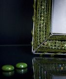 Fragment of beaded photoframe and decorations Stock Images