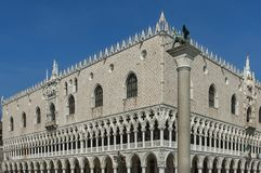 Fragment of  beauty Doge`s Palase at San Marco square or piazza Stock Images
