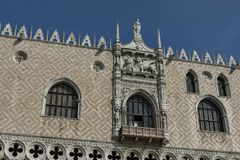 Fragment of  beauty Doge`s Palase at San Marco square or piazza. Venezia, Venice, Italy, Europe Royalty Free Stock Photo