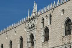 Fragment of  beauty Doge`s Palase at San Marco square or piazza. Venezia, Venice, Italy, Europe Stock Images