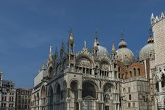 Fragment of  beauty Saint Mark`s Basilica and  Doge`s Palase at San Marco square or piazza. Venezia, Venice, Italy, Europe Royalty Free Stock Photography