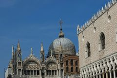 Fragment of  beauty Saint Mark`s Basilica and  Doge`s Palase at San Marco square or piazza. Venezia, Venice, Italy, Europe Royalty Free Stock Photos