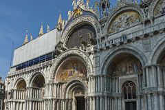 Fragment of  beauty Saint Mark`s Basilica at San Marco square or piazza, Venezia, Venice, Italy. Europe Stock Image