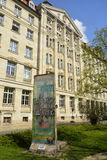 Fragment of the Berlin Wall placed near the Runde Ecke building in Leipzig Royalty Free Stock Photography