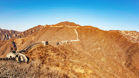 Fragment of Big China Wall. With blue sky stock photos