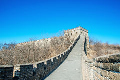 Fragment of Big China Wall. With cloudy sky stock images