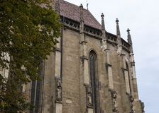 A fragment of the Black Church, built in the Gothic style and named after the dark color left after the fire of the 17th century i Royalty Free Stock Images