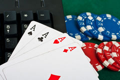 Fragment of black keyboard with chips and cards. Stock Photography