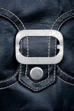 Fragment of black leather jacket Stock Photography