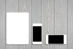 Fragment of blank stationery set. ID template on light wooden background. For design presentations and portfolios royalty free stock photo