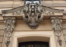 Fragment Blaumana för Art Nouveau byggnadsfasad 11/13 gata Riga Arkivfoton