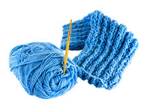 Fragment blue knitting cloth Royalty Free Stock Photo