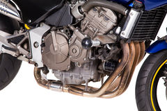 Fragment of Blue powerful motorcycle. Royalty Free Stock Image