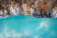 Fragment of blue sulfur toxic lake in the crater of the Ijen volcano. Poisonous sulfur smoke. Mountain volcanic landscape.  royalty free stock images