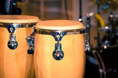 Fragment bongos an instrument for percussionists and musicians royalty free stock photos