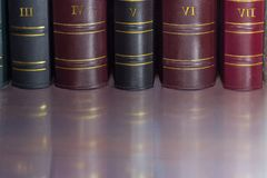 Fragment of book spines of old leather-bound tomes. Fragment of several black, cerise and red book spines of the old tomes in leather-bound on the shelf Stock Image