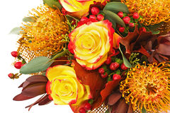 Fragment of Bouquet from Roses and Arabian Star Flower. Royalty Free Stock Photography