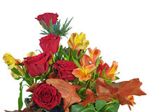 Fragment of bouquet of roses and lilies arrangement centerpiece Stock Photos