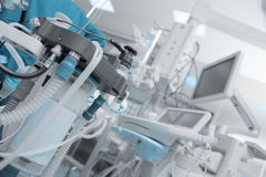 Fragment of breathing apparatus in the operating room. Filled with instruments and machines stock photo