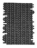 Fragment of the brick wall. Fragment of the black brick wall isolated  on white Royalty Free Stock Photo