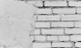 Fragment of the brick wall covered with cement Royalty Free Stock Photos