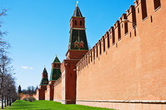 Fragment of brick walls and towers of the Moscow Kremlin Royalty Free Stock Photo