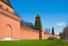 Fragment of brick walls and towers of the Moscow Kremlin Stock Photo