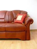 Fragment of brown sofa stock photo