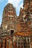 Fragment of Buddhist temple of Wat Chaiwatthanaram Royalty Free Stock Images