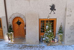 Fragment of the building with Christmas decoration Stock Photography