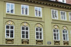Fragment of a building of classical European architecture in Prague, Czech Republic. stock image