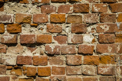 Fragment of a building with a collapsed brick wall. Royalty Free Stock Photo