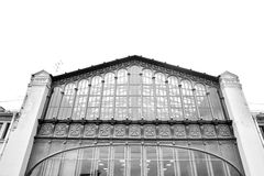 Fragment of building of former Warsaw Railway Station. Royalty Free Stock Image