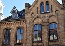 Fragment of the building of an old pharmacy in the town of Buende, Germany. Panorama of the city streets royalty free stock images