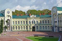 Fragment of the building of an orthodox gymnasium of the Kaliningrad diocese of ROC Royalty Free Stock Images