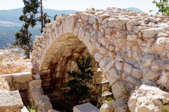 Fragment of buildings inside in the ruined city Safed, Israel. Stock Photography