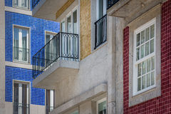 Fragment of buildings which are decorated with tiles in Portugal Stock Image
