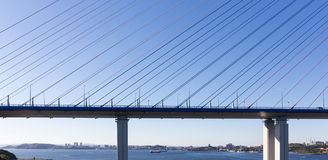 Fragment of a cable stayed bridge  Royalty Free Stock Photo
