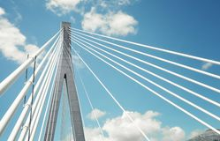 Fragment of a cable stayed bridge in Croatia Stock Image