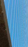 Fragment of a cable stayed bridge. Royalty Free Stock Photos