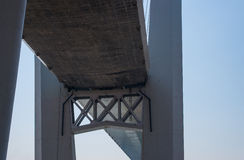 Fragment of cable stayed bridge. Royalty Free Stock Photos