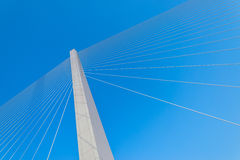 Fragment of cable stayed bridge. Stock Photography