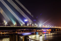 Fragment of cable-stayed bridge Stock Images
