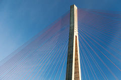 Fragment of cable-stayed bridge in Norway Stock Photos