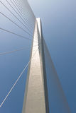 Fragment of a cable stayed bridge. Royalty Free Stock Photo